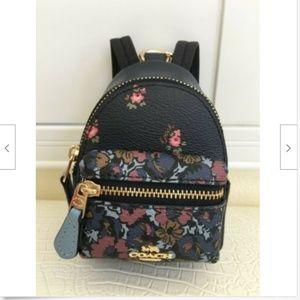 COACH Key Chain Floral Mini Backpack Key Fob Ring